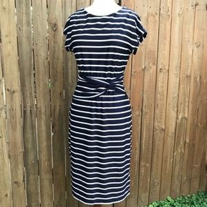 Shelby & Palmer Striped Navy Blue Midi Dress